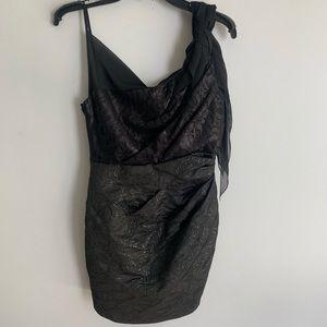 KAREN MILLEN Metallic One Shoulder & Strap Dress